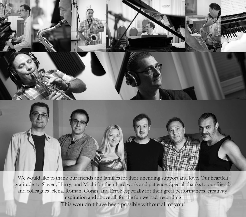 Fourth page of the album with a collage of the photos and a group shot of the musicians in the stuio recording and thank you note.