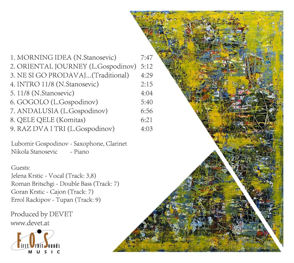 Sixth page of the artwork with the origami painting, song tittle and duration, musicians who played the album and