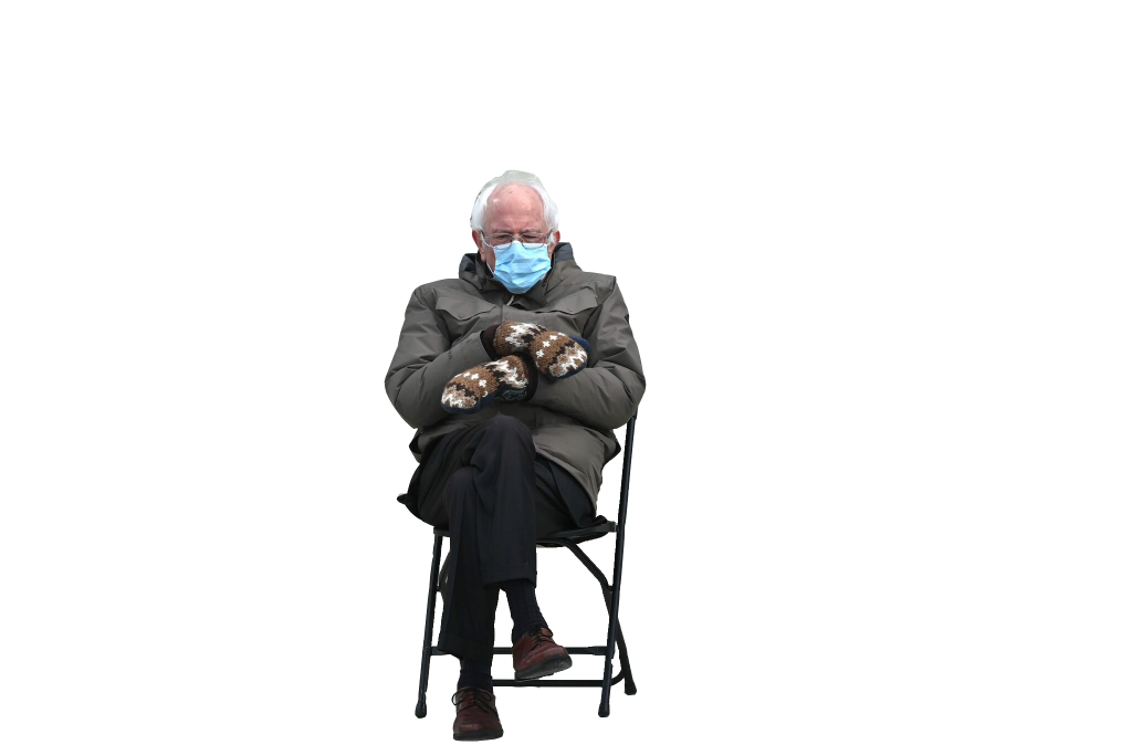 Bernie Sanders' inauguration mittens meme, no background photo in png format