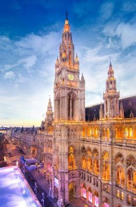 rathaus-cityhall-clock-vienna-sunset-light